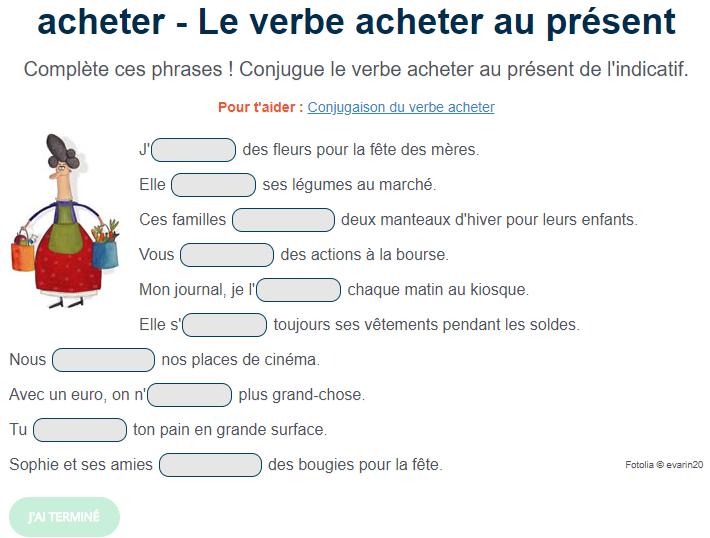 Exercice De Conjugaison Le Verbe Acheter Au Present Teaching French Teaching