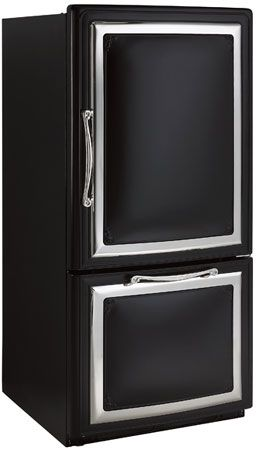 Black and silver refrigerator, perfect for a monochrome kitchen.
