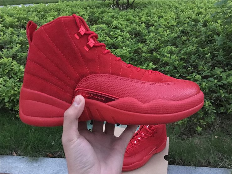 New Men Jordan 12 All Red Christmas Shoes