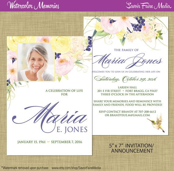 Reception Ceremony Burial: Funeral Memorial Announcement Or Invitation And FREE Thank