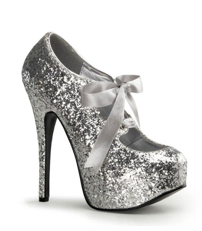 *** Bordello shoes Teeze-10G silver glitter platform pumps stiletto heels 9