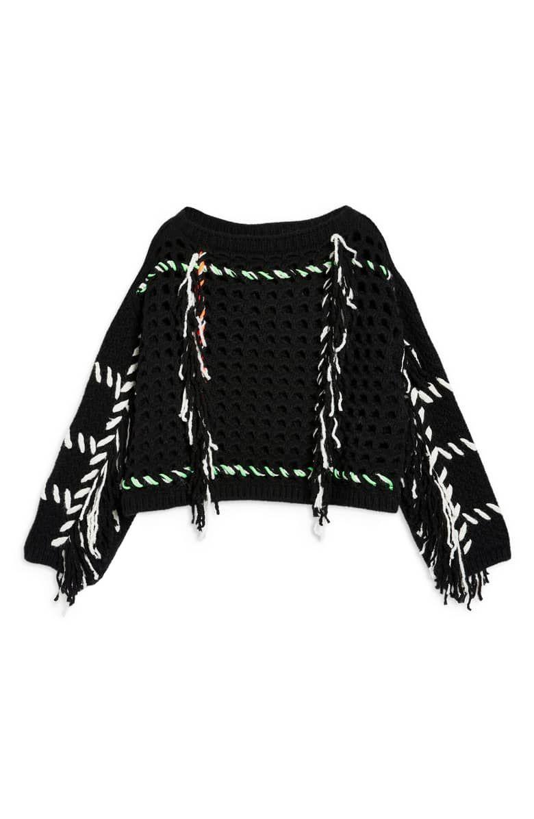 Fringe Crochet Sweater, Alternate, color, BLACK MULTI