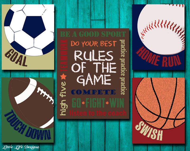 Sports Decor Nursery Boy Room Rules Of The Sign Football Baseball Basketball Soccer Signs Kids