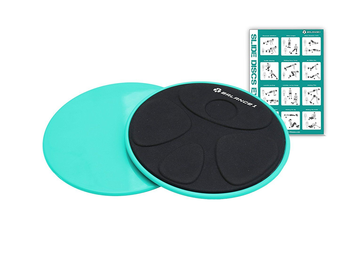 79adc2f1c077 Amazon.com   Balance 1 Core Sliders Disc-For hardwood floor or  carpet-Tiffany Blue w  FREE instruction poster   Sports   Outdoors