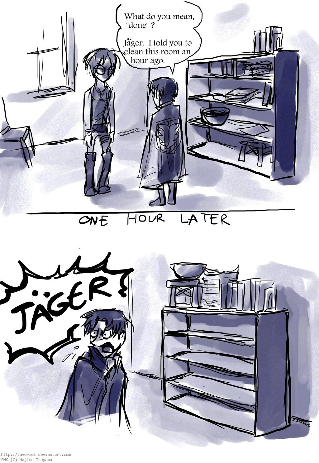 """Shelf by Tavoriel.deviantart.com on @DeviantArt """"Levi if you don't like the way I clean the room maybe you should just clean it"""""""