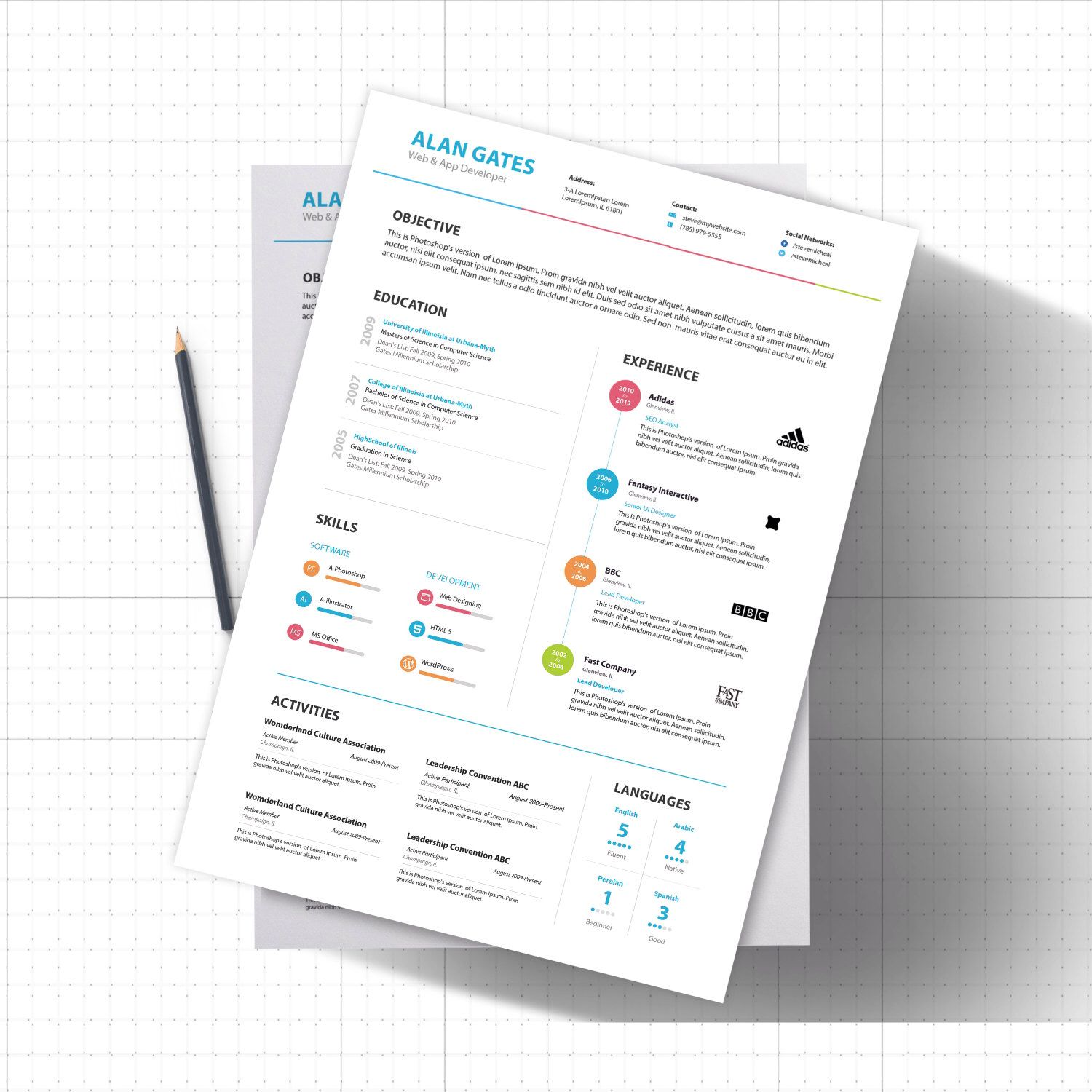 creative resume template psd modern photoshop ready to edit template one page cv template resume by