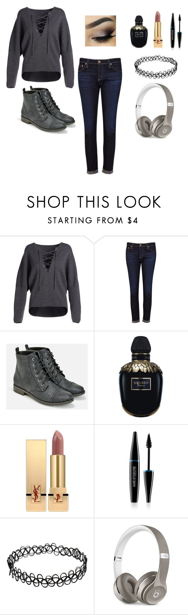 """""""Music Break/Stalling ~Carlisa"""" by carlisafights ❤ liked on Polyvore featuring Vince, AG Adriano Goldschmied, JustFab, Alexander McQueen, Yves Saint Laurent, MAKE UP FOR EVER and Beats by Dr. Dre"""