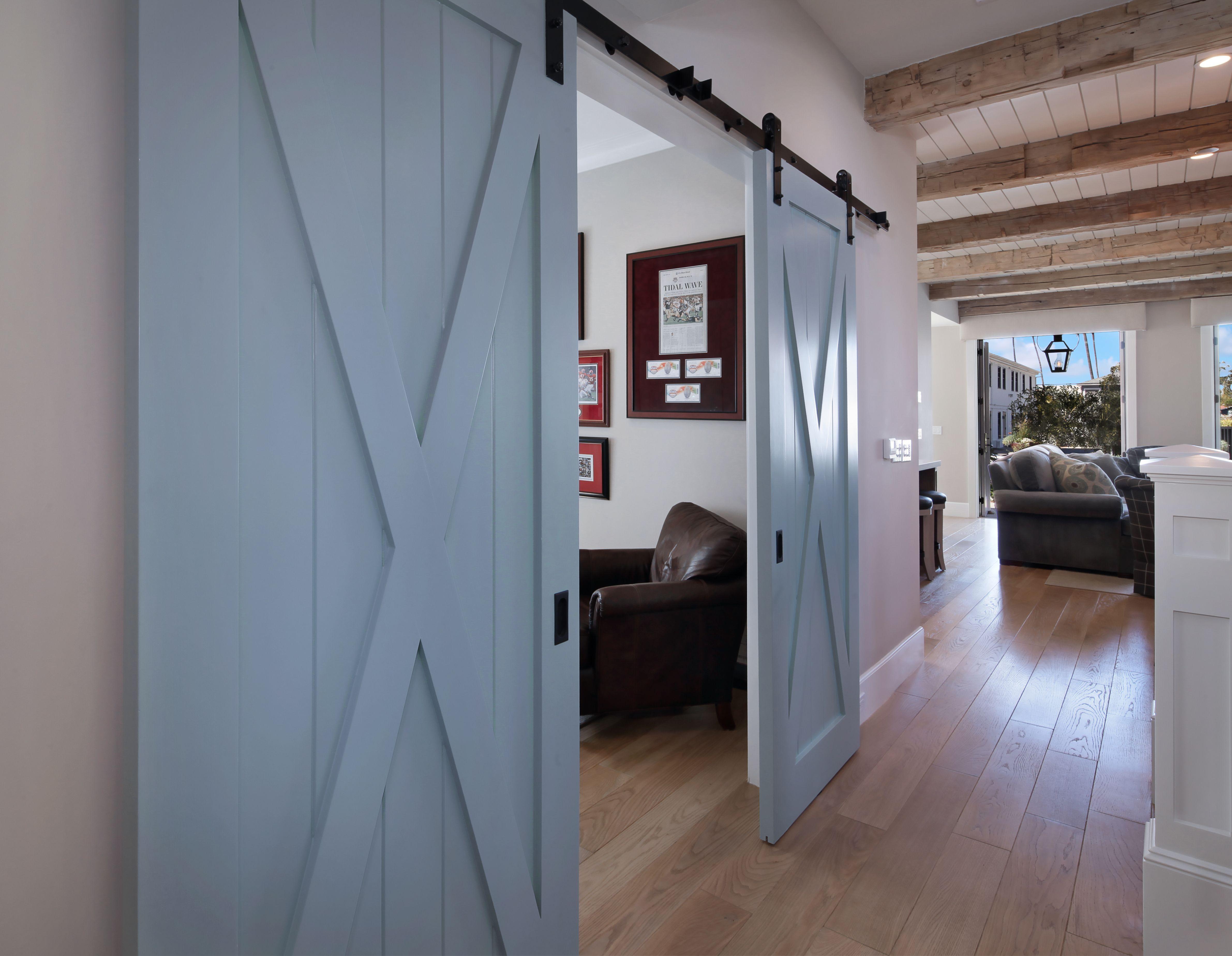 Blue Barn Doors Create A Whimsical Entrance For A Home Office Custom Homes Home Barn Door