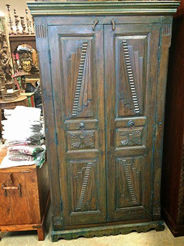 Indian Armoire Teak Britsh Colonial Cabinet Bedroom Almira