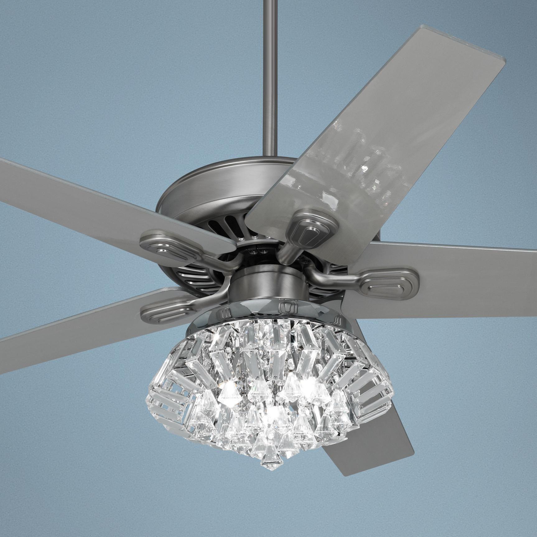 """52"""" Windstar II Steel Crystal Light Kit Ceiling Fan"""