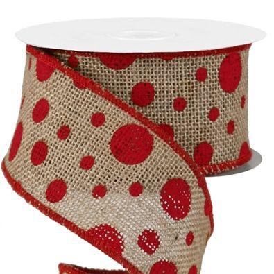 "Polka Dot Printed Burlap Ribbon 2.5"" Burlap & RED Dots"