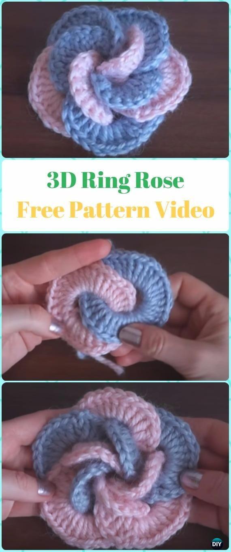 Crochet 3D Ring Rose Flower Free Pattern Video - Crochet 3D Rose ...