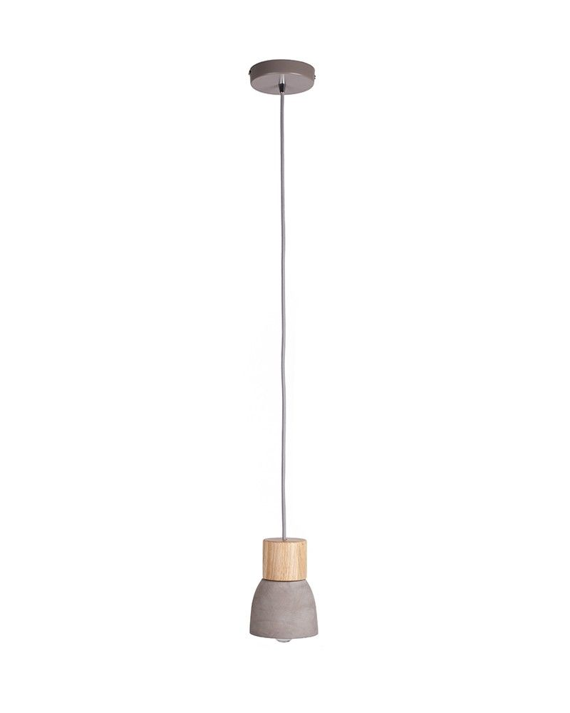 Modern Cet Shade Iron Pendant Light with Wooden Holder ...
