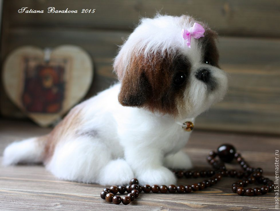 """Купить """"Аннабель"""" - щенок, щеночек, собачка, войлочная игрушка, игрушка ручной работы, игрушка в подарок"""