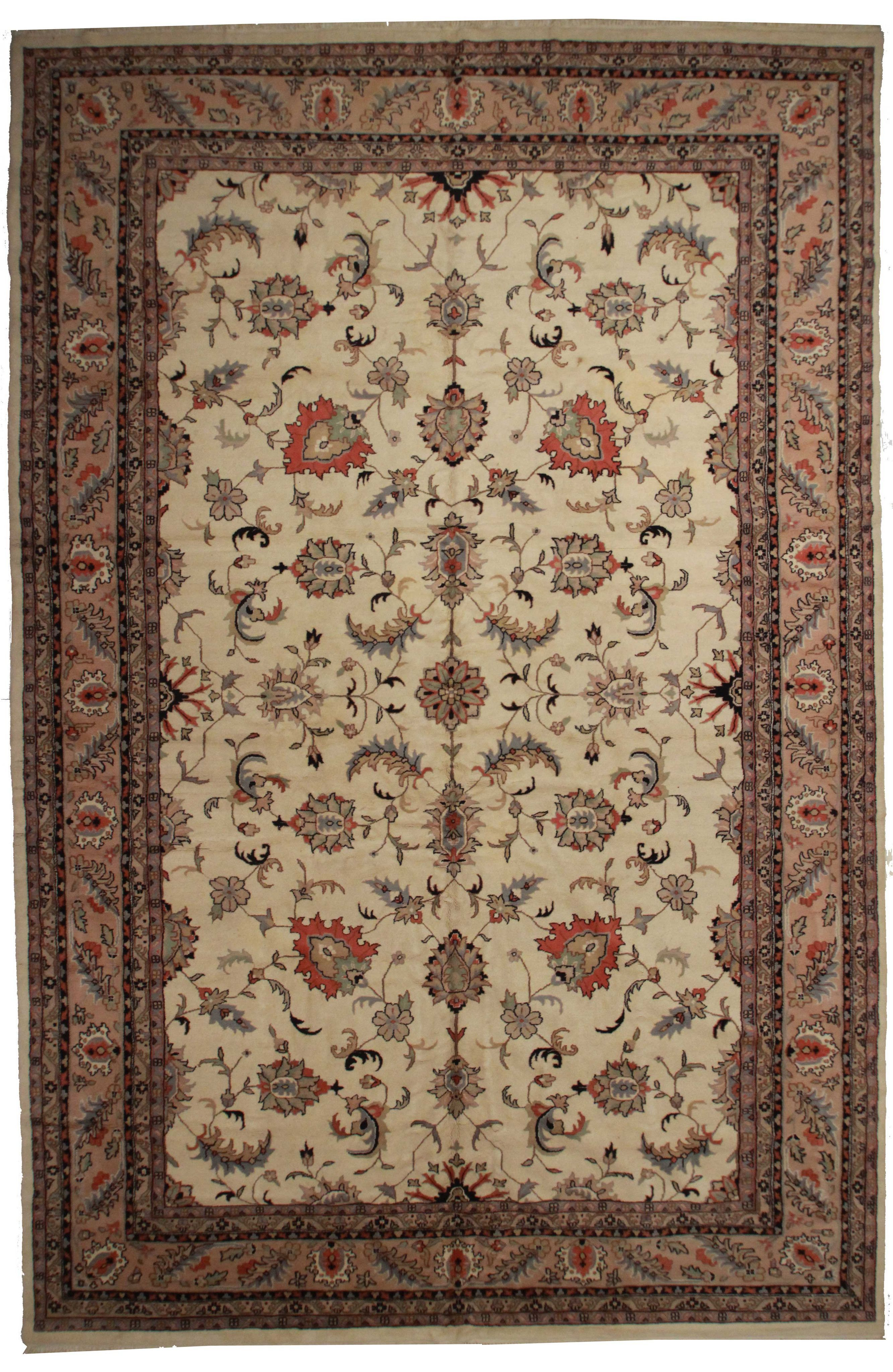 12 X 18 Vintage Hand Knotted Wool Indian Rug Persian Style Rug Indian Rugs Rugs Hand knotted wool rugs from india