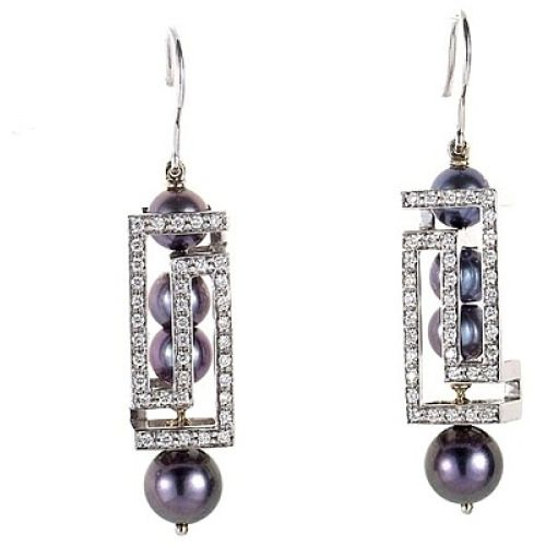 Versace Cube Collection 18K White Gold Black Pearl
