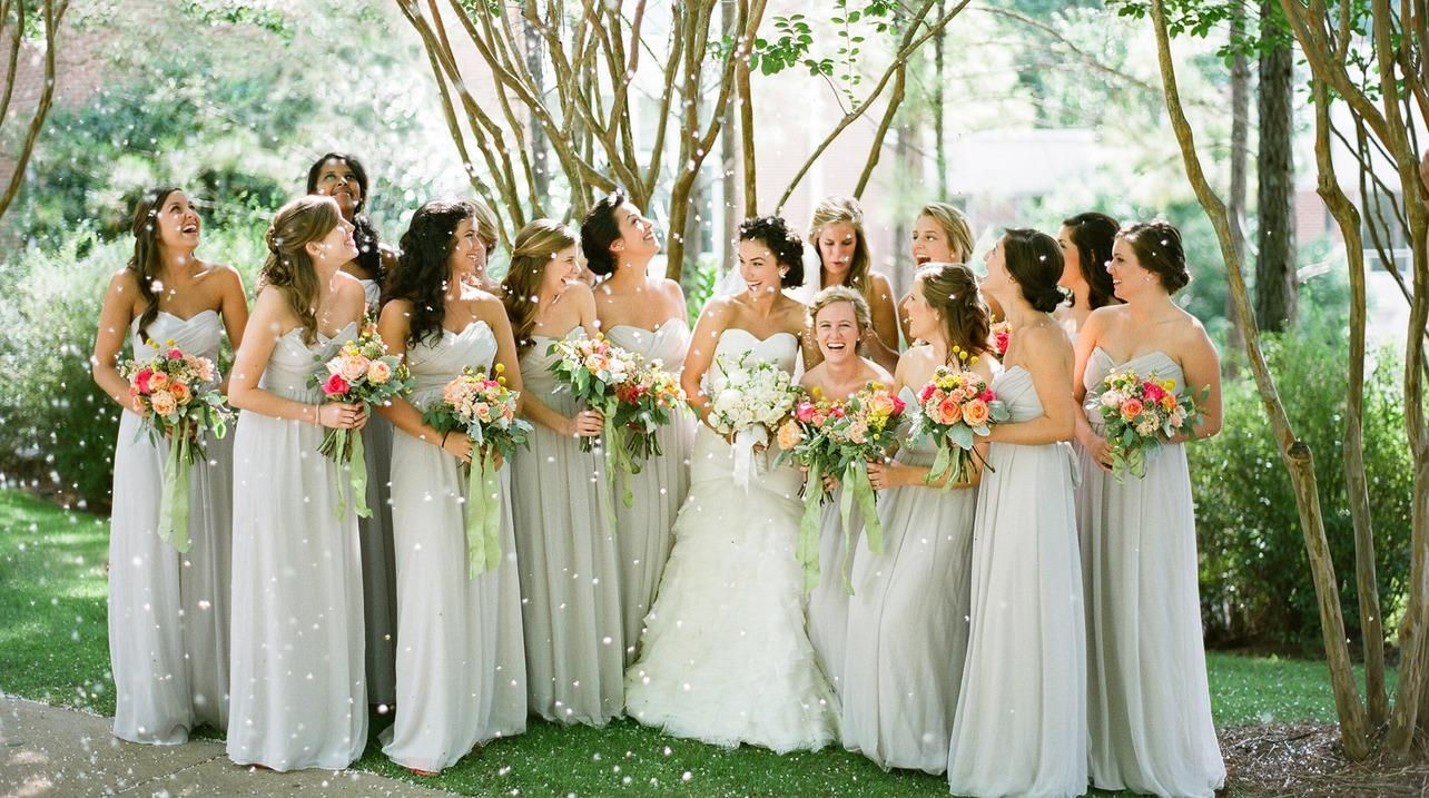 beautiful long bridesmaid dresses {Leslee Mitchell Photography}
