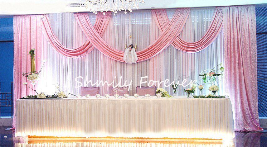 new design white pink wedding backdrop curtain with swags for wedding