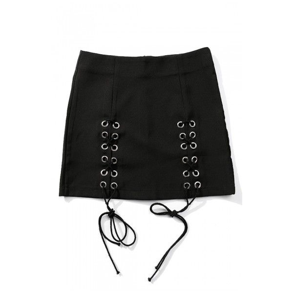 High Waist Chic Lace-Up Front Zip Back Plain Mini Bodycon Skirt (1,275 DOP) ❤ liked on Polyvore featuring skirts, mini skirts, high rise skirts, high-waisted skirts, high waist skirt, high waisted mini skirt and bodycon skirt