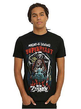 "<p>Black T-shirt from Rob Zombie with a large ""Night of the Living Superbeast"" horror movie poster style design on front.</p>  <ul> <li>100% cotton</li> <li>Wash cold; dry low</li> <li>Imported</li> <li>Listed in men's sizes</li> </ul>"