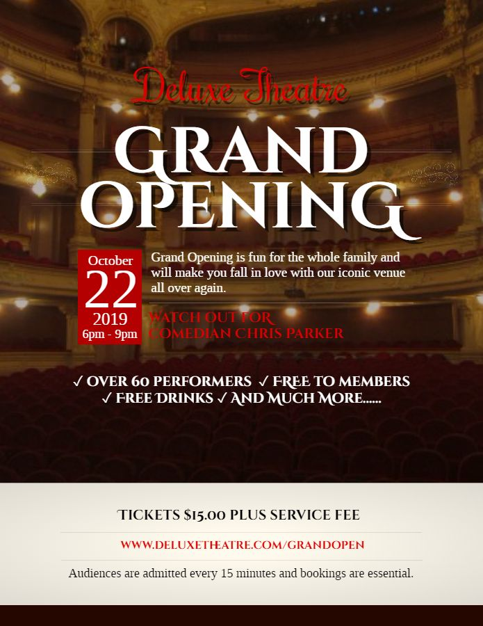Theater Play Grand Opening Event Poster Flyer Template Grand