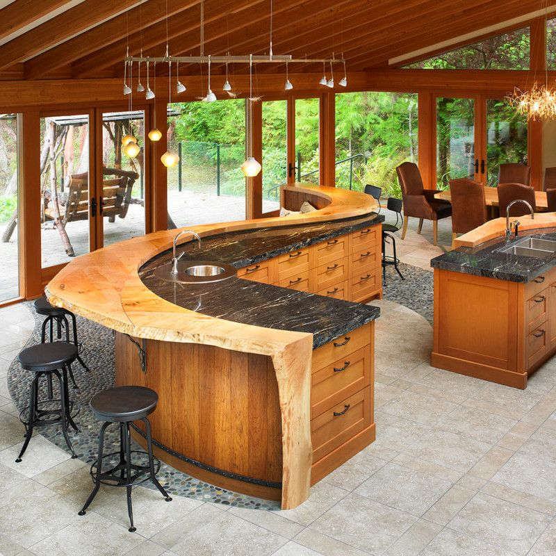 Another rustic kitchen idea. I like the unique open floor plan.
