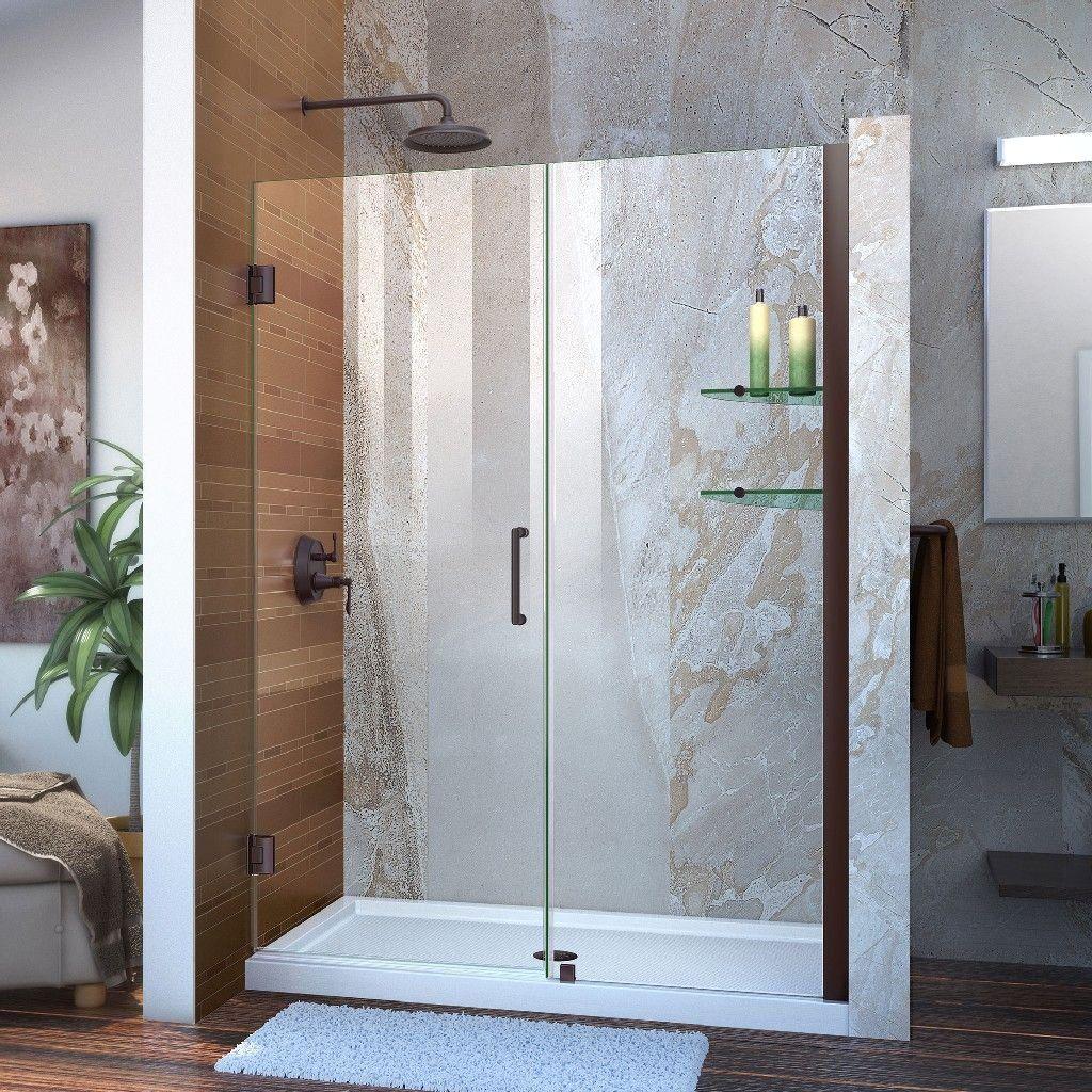 Dreamline Unidoor Min 47 To Max 48 Frameless Hinged Shower Door Clear 3 8 Glass Door Oil Rubb In 2020 Black Shower Doors Frameless Hinged Shower Door Shower Doors