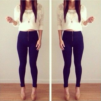 lace white sweater pants pullover high waisted jeans skinny pants ...