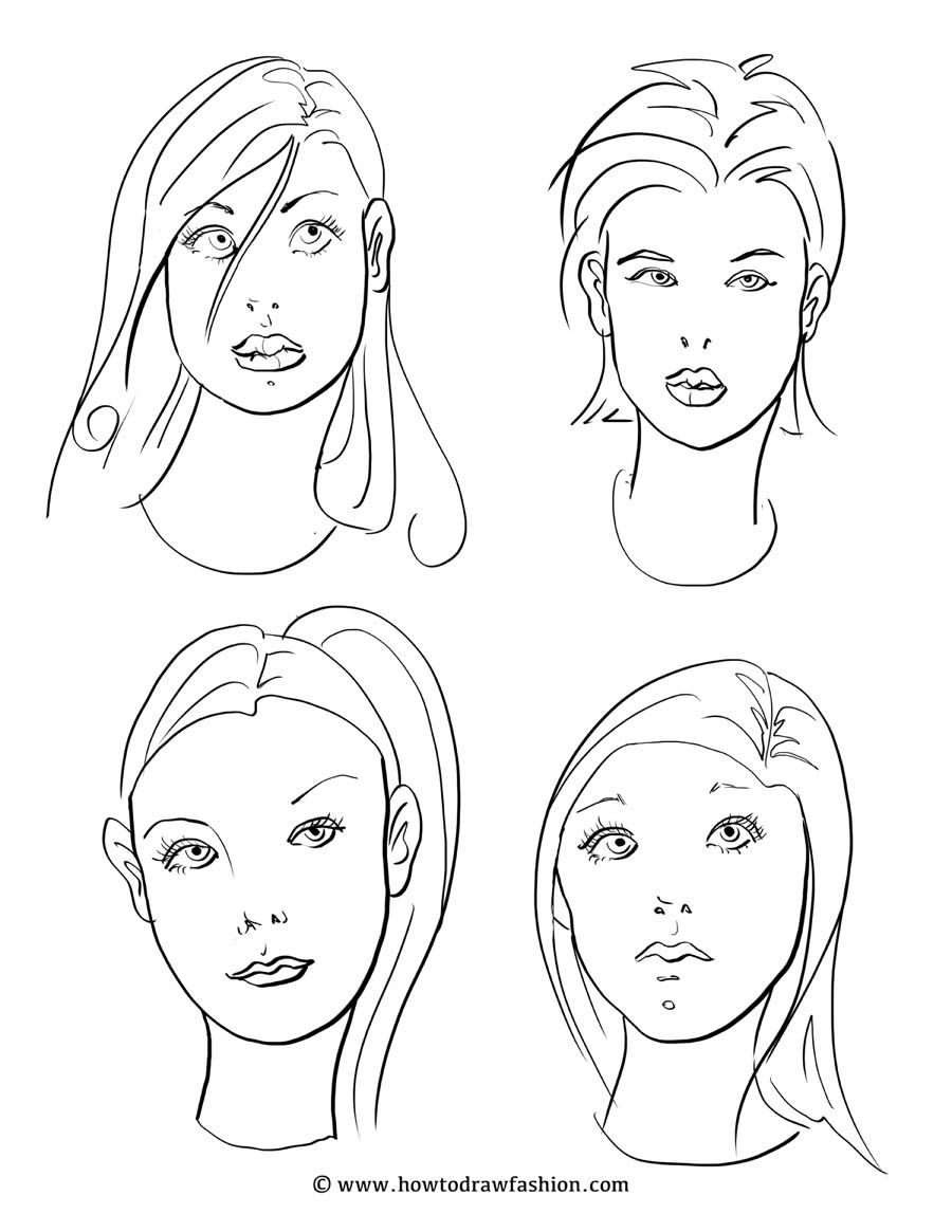 how to draw fashion faces of fashion costume rendering