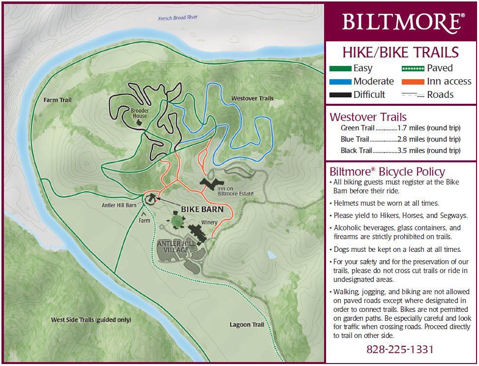 Biltmore Estate Bike Trails Hiking Trail Maps Hiking Trail