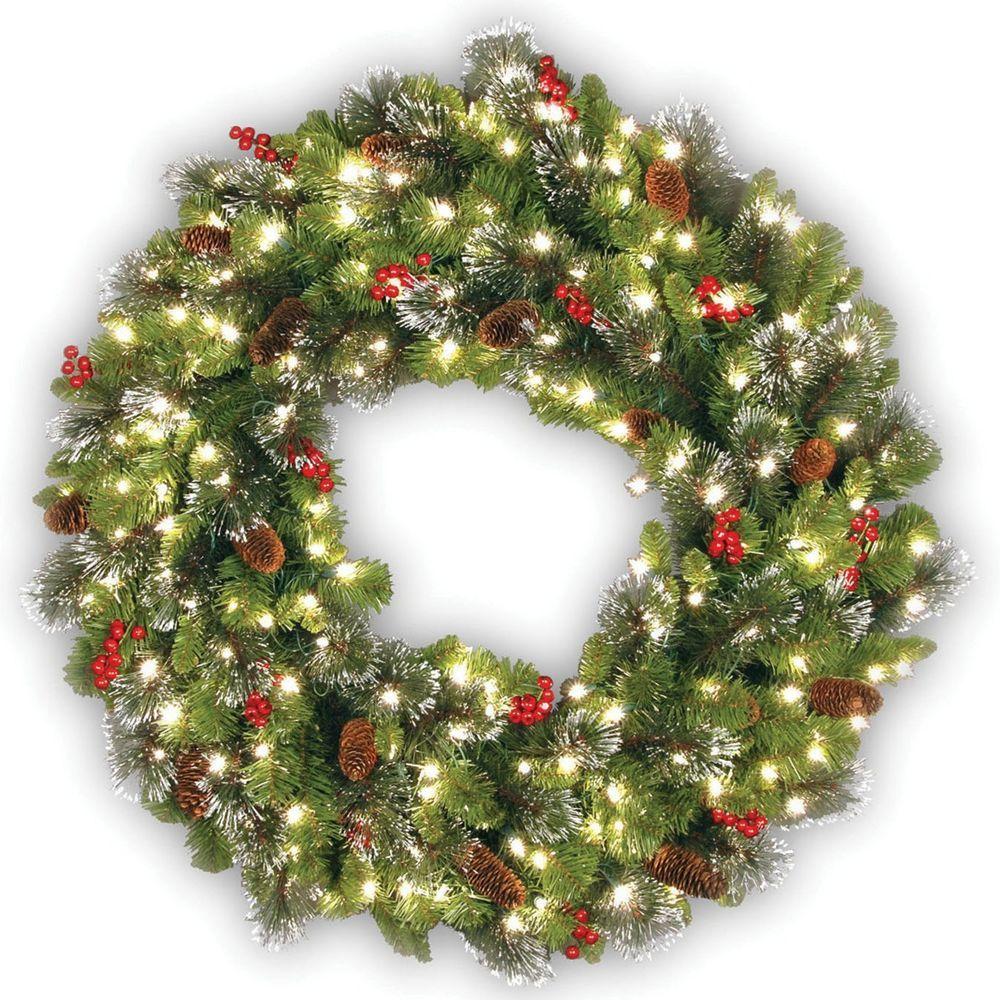 Outdoor Lighted Wreath Christmas Door Decoration Wreath Prelit Wall Ornament Indoor Outdoor