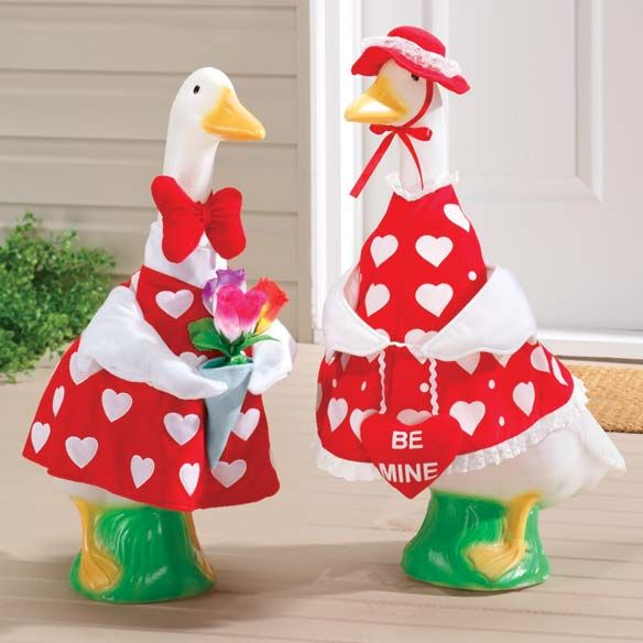Valentine Couple Lawn Goose Outfits Zoom Goose Clothes Crafts Preschool Valentines