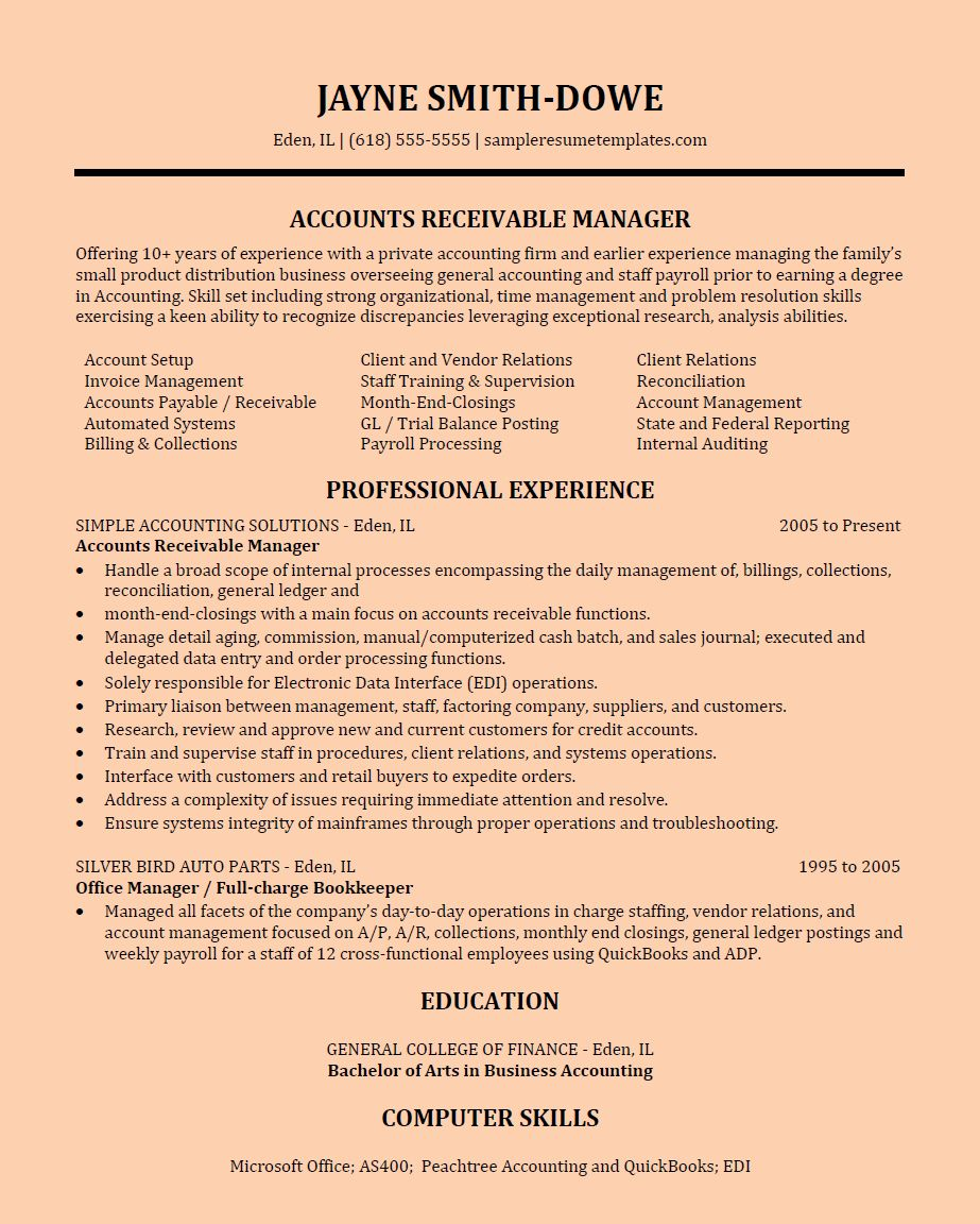 accounts receivable analyst resume best of accounts