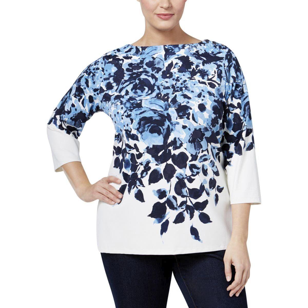 4ce77faa85c Charter Club Womens Plus Stretch Floral-Print Blouse