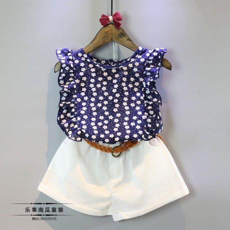 2016 moda verão crianças roupas Floral azul camiseta + Shorts com cinto de crianças roupas ternos em Conjuntos de roupas de Mãe & Kids no AliExpress.com   Alibaba Group