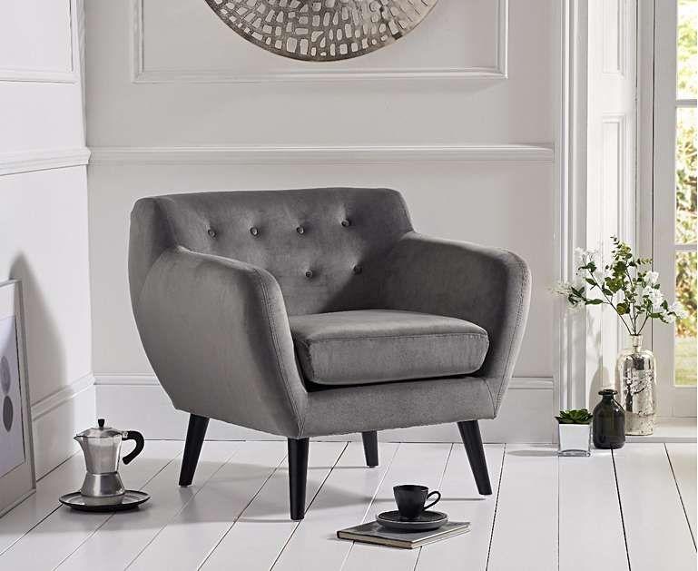Tim Grey Velvet Accent Chair Velvet Accent Chair Accent Chairs