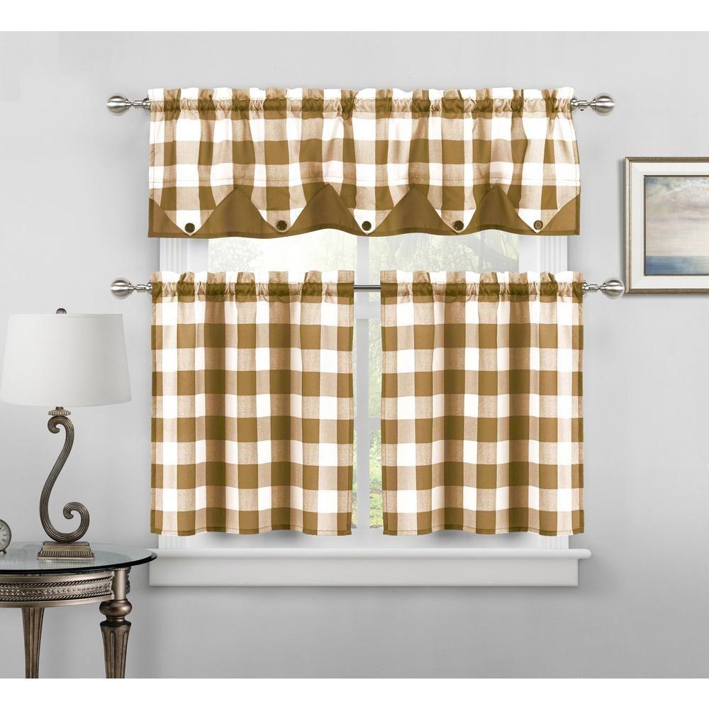 home maison kingdy taupe kitchen curtain set - 56 in. w x 14 in. l in (3-piece), brown | kitchen