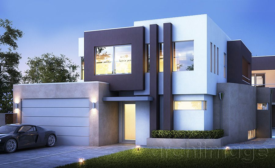 Architectural Render of a modern contemporary house design. House ...