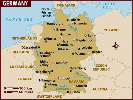 Map Of Central Germany.Germany Officially The Federal Republic Of Germany Is A Federal