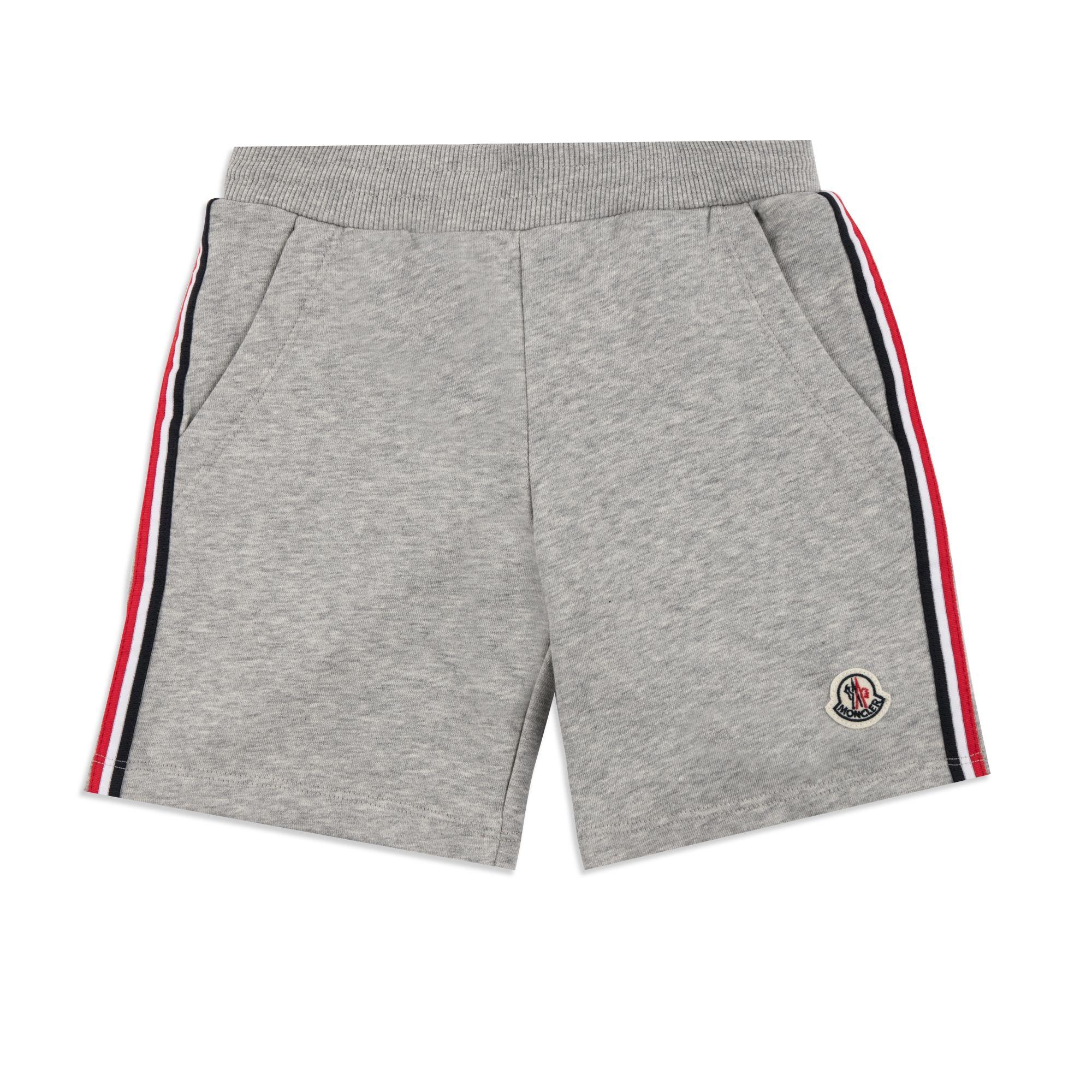 e66c36b89e5b1 MONCLER Boys Striped Trim Sweat Shorts - Grey Boys sweat shorts • Soft  cotton jersey • Elasticated waist • Drawstring ties • Three pocket design •  Signature ...