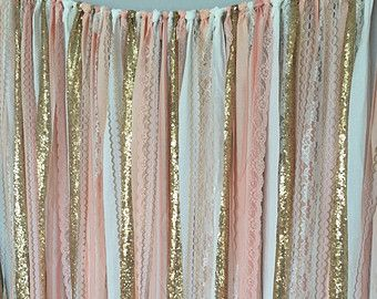 Pink & Gold Sparkle Sequin Garland Curtain with Lace - Nursery Decor, Curtain…