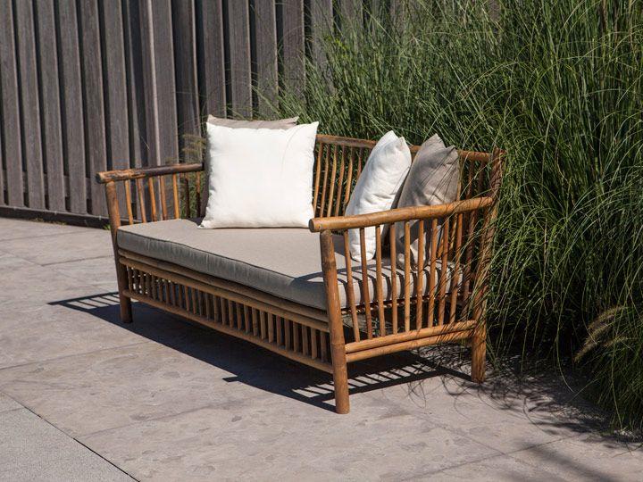 BAMBOO 3er Gartensofa Gartenbank Bambus Hochwertige Gartenmöbel