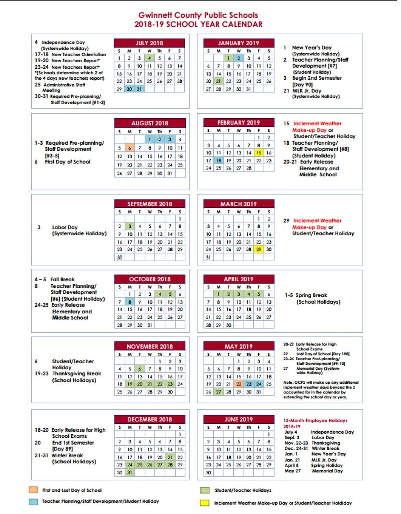 2020 2020 Academic Calendar Template.Gwinnett Adding Fall Break In 2018 2019 School Year Teaching