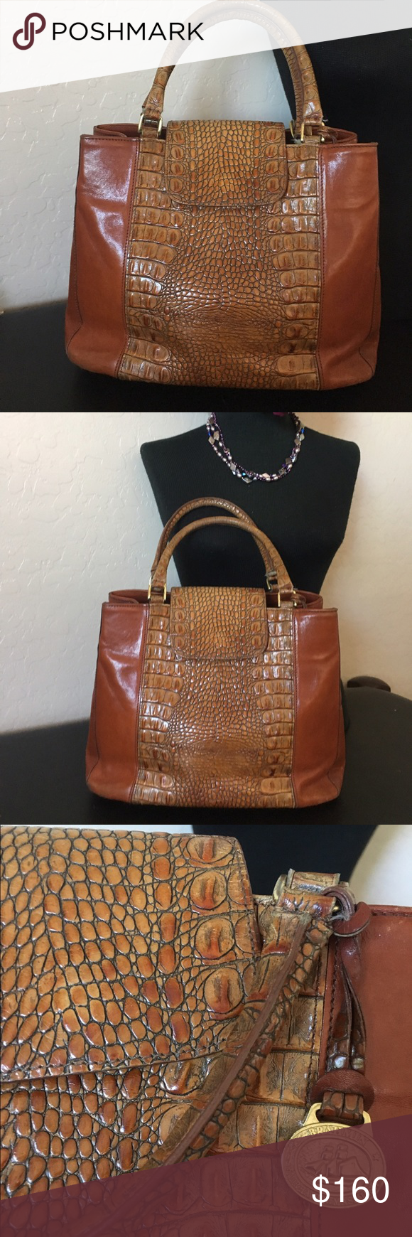 Vintage Brahmin Handbag With Long Crossbody Shoulder Strap Used Condition Some Stain On The Inside Please Note