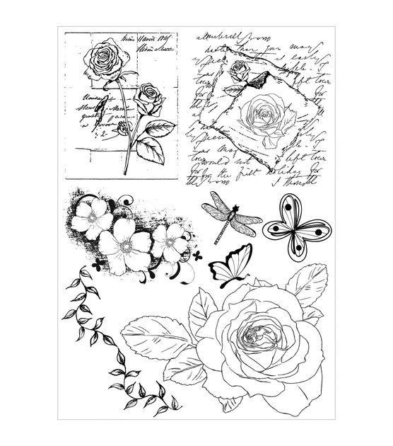 Debbi Moore Shabby Chic Clear Stamp Set-Vintage Rose