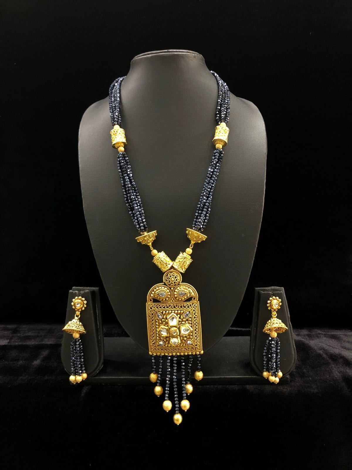 Multi stranded blue gemstone beaded golden pendant drop necklace set