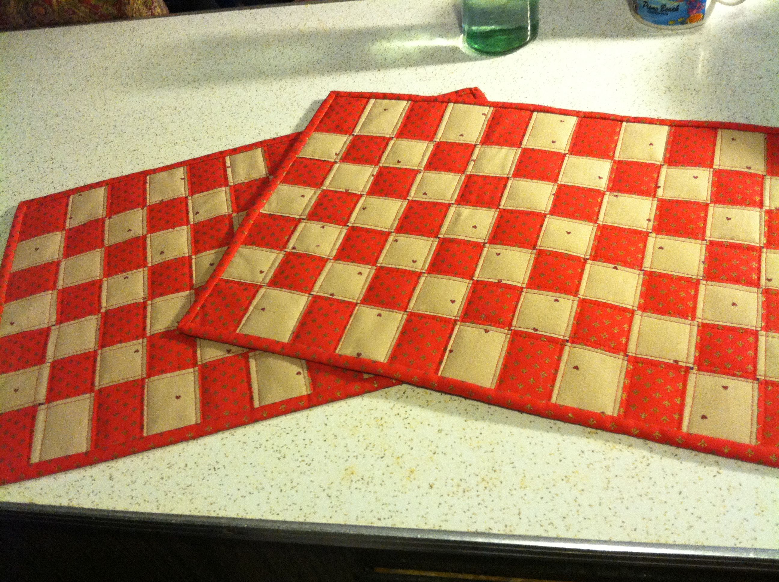 Red and tan placemats