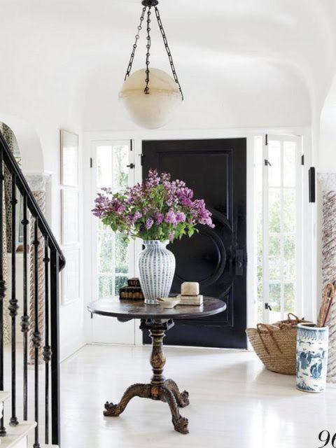 Doors Design: Foyer Entry Way. Black Front Door, Round Table, Large