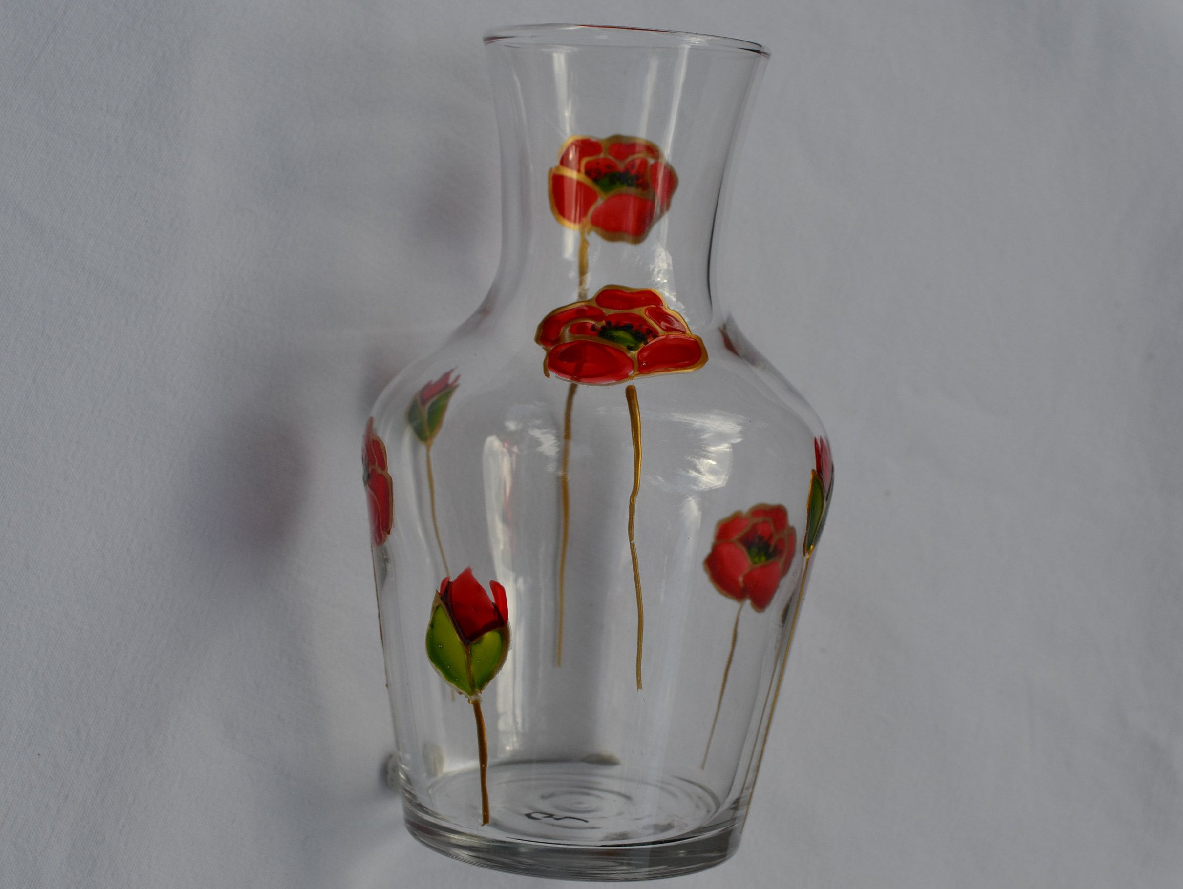 Carafe Ou Vase En Verre Peint Coquelicots Rouge Et Or Vase Peint Fleur Rouge Carafe Coquelicot Coquelicot Rouge Pei Avec Images Vases Peints Vase Verre Verres A Vin Peints