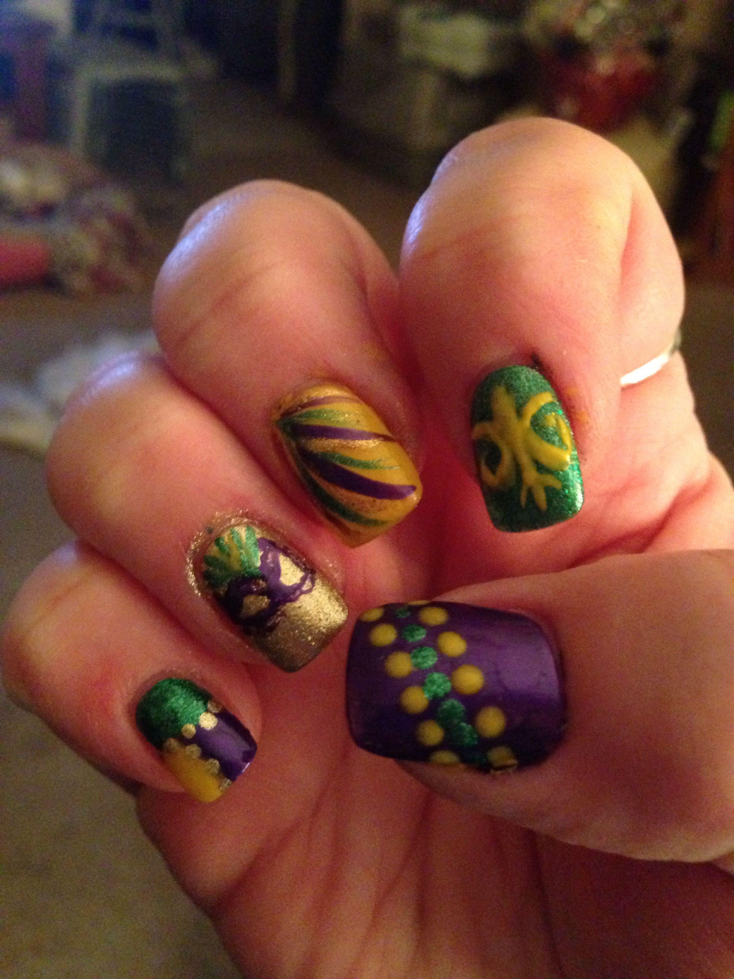 Mardi Gras nails | My nail art | Pinterest | Mardi gras, Nail nail ...